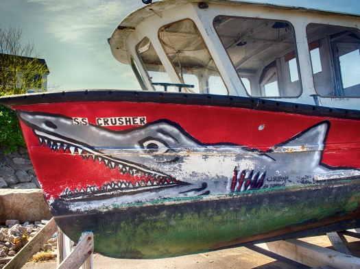 Admiring nautical art at Perkins Cove in Oqunquit, Maine
