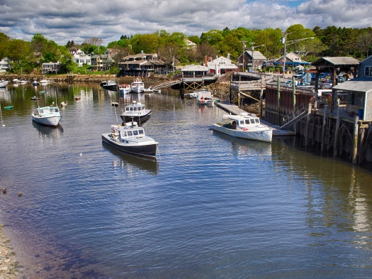 Looking down from the bridge upon Perkins Cove in Oqunquit, Maine