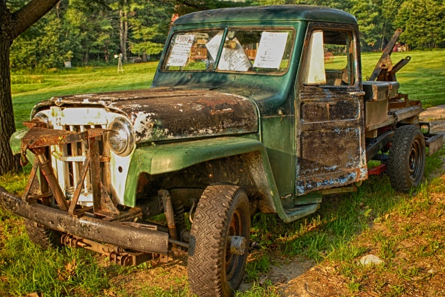 """I saw this antique truck on the side of the road with a """"For Sale"""" sign in the window. The colors of the truck, grass and scattered leaves all seemed to blend together."""