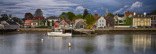 Picturesque view of the historic South End in Portsmouth, NH.