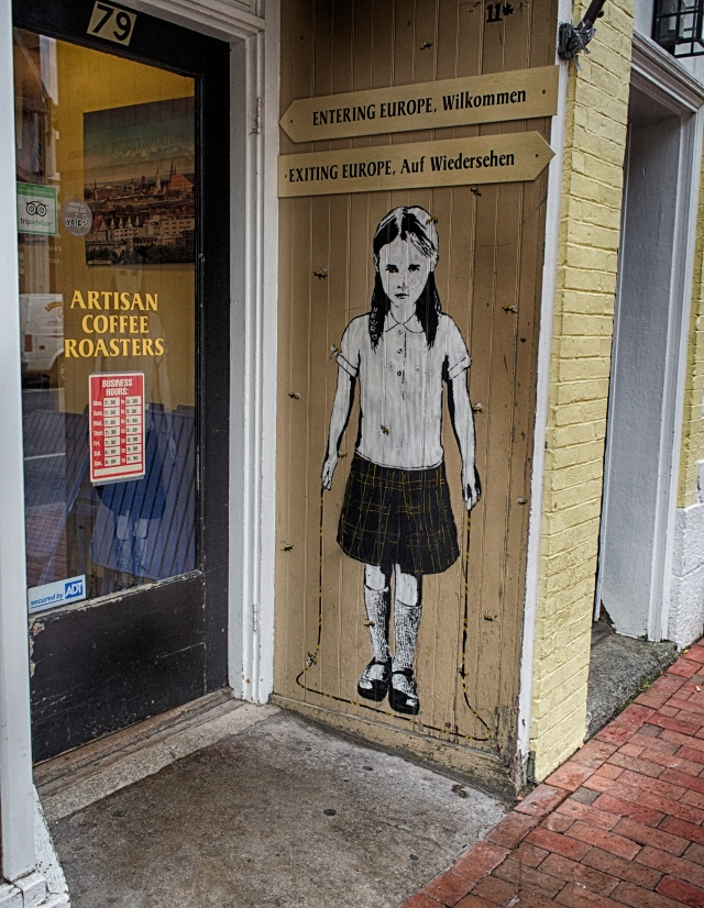 Interesting wall art outside a German coffee shop in downtown Portsmouth, NH.