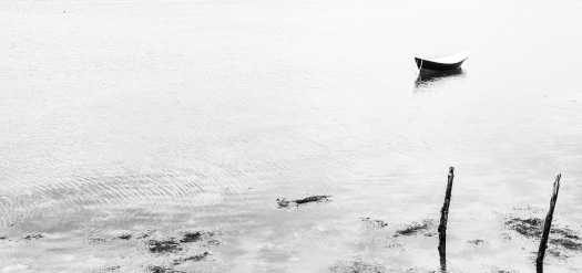 A lone skiff reveals itself in the thin gray light of an early morning walk at Fort Stark in New Castle, NH.