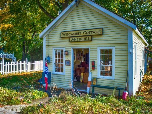 Still have some golden days left. I noticed this cute antique shop on a side street in Wiscasset, Maine.